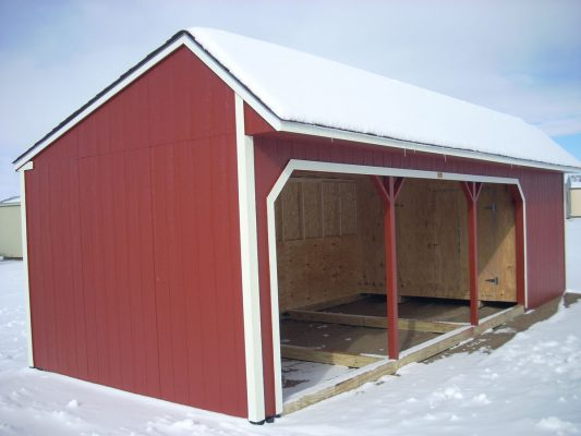 Horse shelter saltbox with metal siding