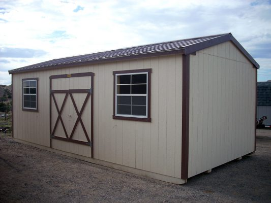 Ranch shed with double doors, metal roofing