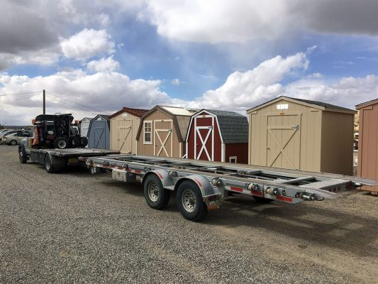 Empty delivery trailer, ready to haul your shed