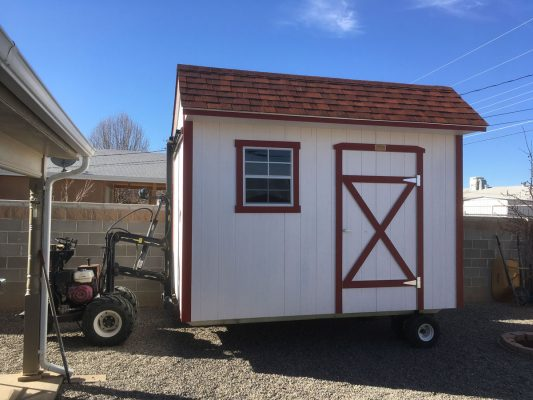 Using a mule to move a ranch shed