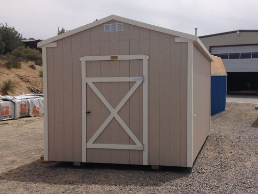 Painted ranch shed