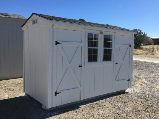 Ranch storage shed with two doors, asphalt shingles