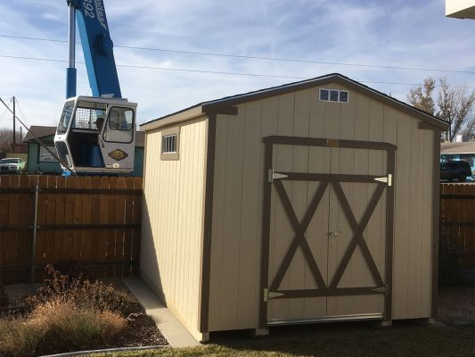 crane moving storage shed