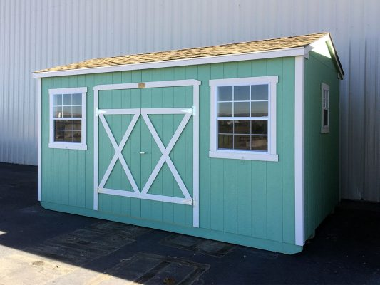 Ranch shed with double doors and windows, asphalt shingles