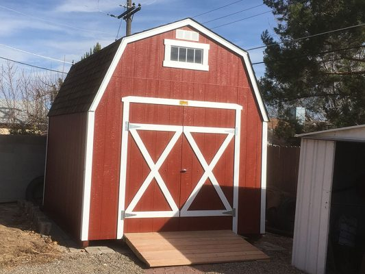 lofted barn with double doors