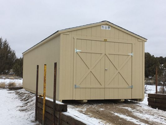 Ranch shed with double doors