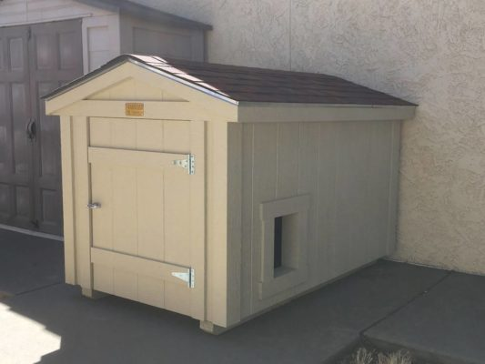 custom doghouse with side door